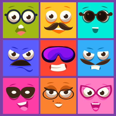 fear cartoon: Cartoon faces with emotions and mustache. Vector Illustration Collection