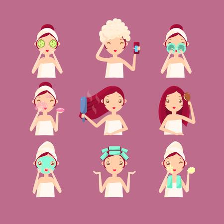 straighten: Women in Beauty Saloon. Flat Vector Illustration Set