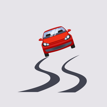 unsafe: Car Insurance and Unsafe Drive Risk Colourful Vector Illustration