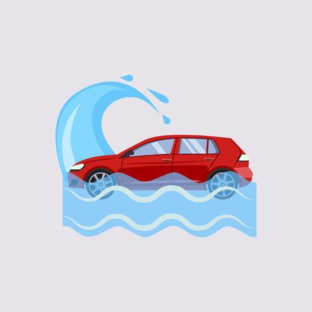 flood: Car Insurance and Flood Risk Colourful Vector Illustration