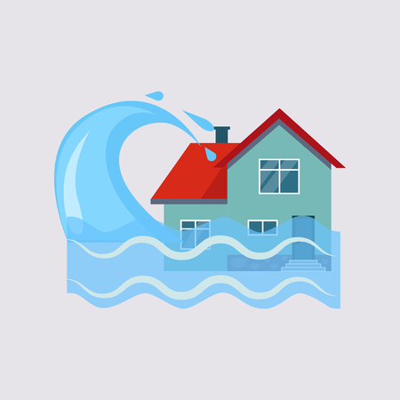 홍수 하우스 보험 다채로운 벡터 일러스트 플랫 스타일 일러스트