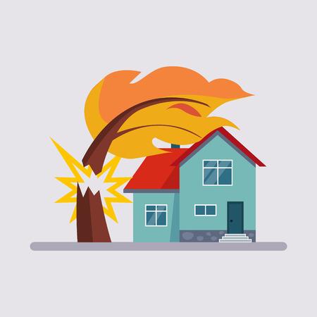 Immobilien Versicherung Bunte Vektor-Illustration flach Stil Standard-Bild - 50092233