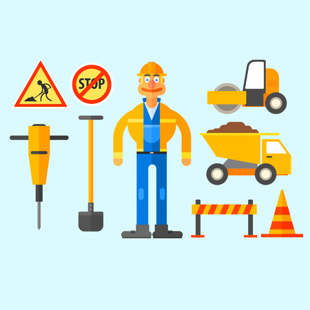 building construction: Road Repair Work, equipment to repair roads and work in the form. Illustration Set Illustration