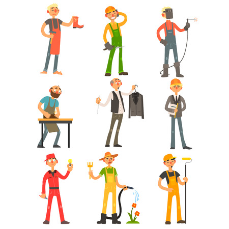 worker person: Men Profession, people with their working tools Colourful Illustration Set