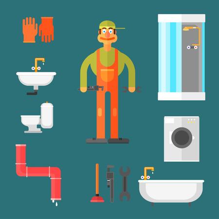 plumber: Fontanero y equipamientos y herramientas de escritorio en el conjunto de formularios Ilustración