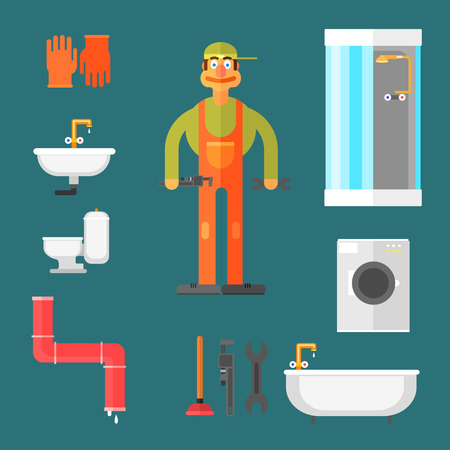 general: Plumber and Equipment tools and desktop in the form Illustration Set Illustration