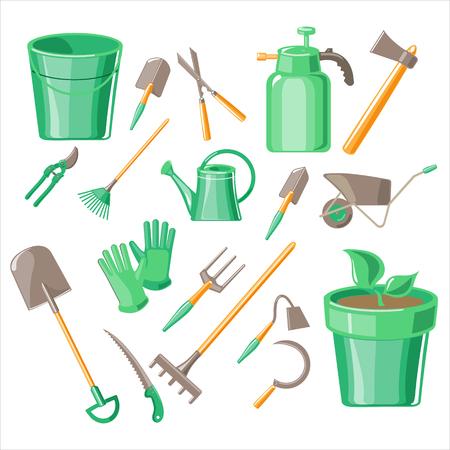 Gardening Tools Illustration Collection icon set Illustration
