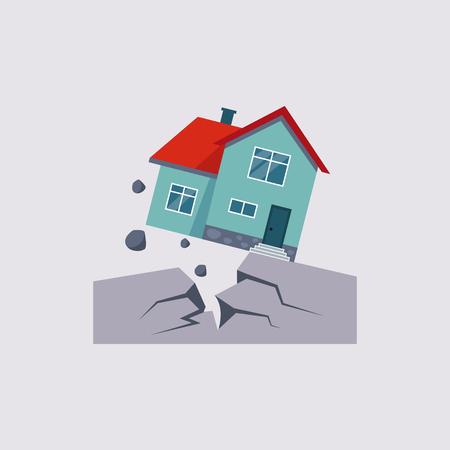 Earthquake Insurance Colourful Illustration flat style