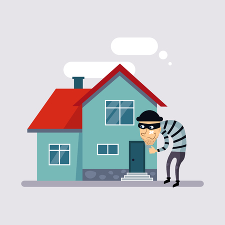 burgler: Theft Insurance Colourful Illustration flat style