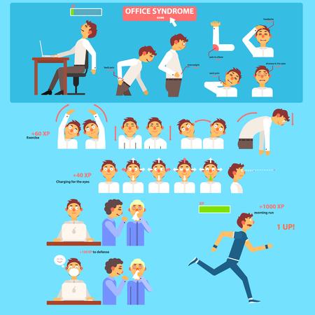 hombros: Síndrome de Oficina Concepto de Salud. Ilustración Conjunto Vectores