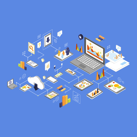 hard to find: Data Storage and Technology. Colourful Isometric Illustration
