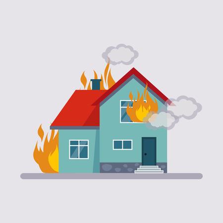 incendio casa: estilo plano Ilustración colorida de seguros de incendio