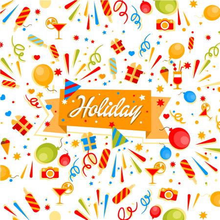 cream colored: Colourful Holiday  confetti, balloons and firecrackers Illustration