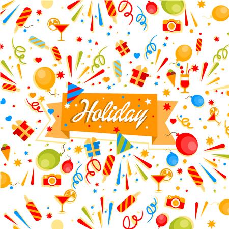 Kleurrijke Holiday confetti, ballonnen en vuurwerk