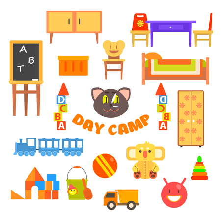 furnishings: Kindergarten Preschool Set. Illustration Collection home furnishings and toys Illustration