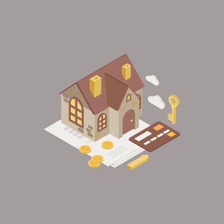 house mortgage: House Mortgage Ismometric 3d style  Illustration Illustration