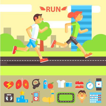 metrics: Jogging and Running Set with People Running Outdoor. Illustration
