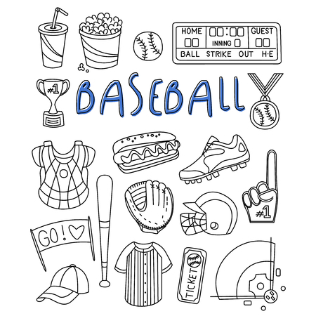 plackard: Baseball Items Hand Drawn Vector icon Set
