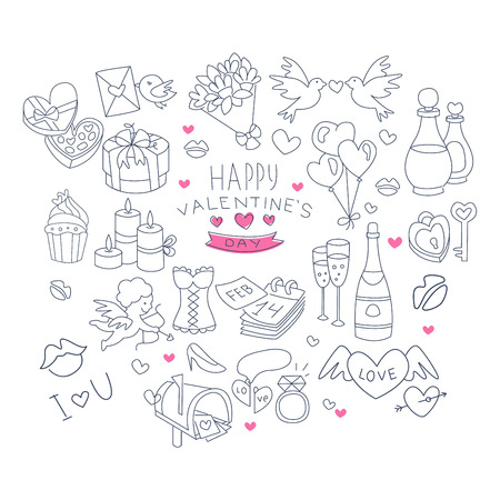 dinner date: Valentines Day Handdrawn Vector Symbols icon Collection Illustration