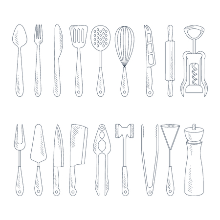 measuring spoon: Cutlery Icons in Handdrawn Vector Style set