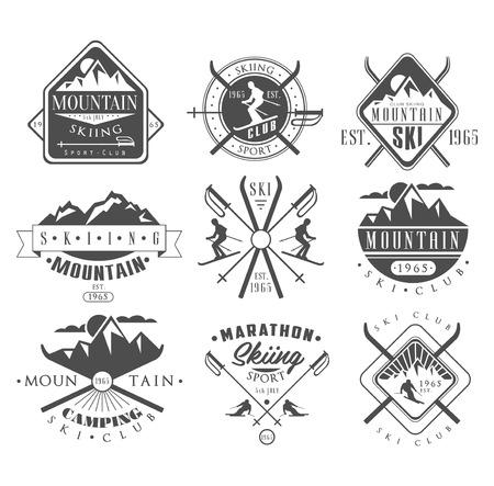 Archiwalne etykiety narciarstwo i elementów wektora Zestaw Ilustracje wektorowe