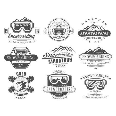 Snowboarding Logo and Label Vector Template Set