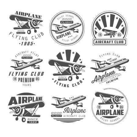 clubs: Airplane Club Vector Illustration Emblem, badges Set