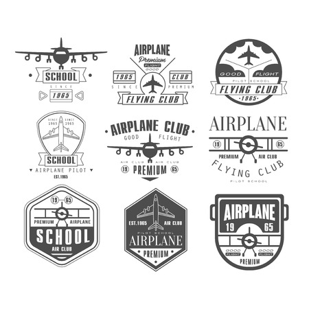 retro label: Monochrome Airplane Club Vector Illustration Emblem Set