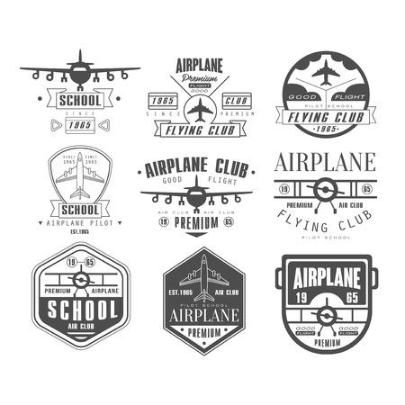 etiqueta: Monocromo Avi�n Club de ilustraci�n vectorial Emblema Conjunto