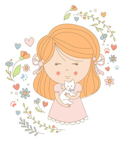 ragazza innamorata: Ragazza in possesso di un gatto, illustrazione vettoriale Piatto