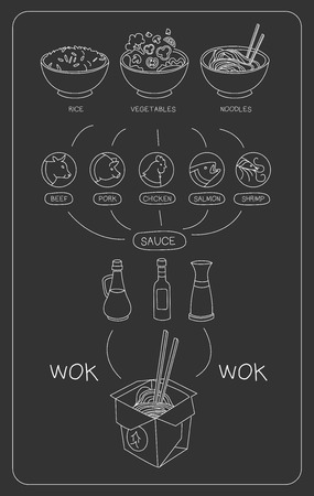 chinese fast food: Asian Chalkboard Thai Food Ingredients. Cute Vector Illustration