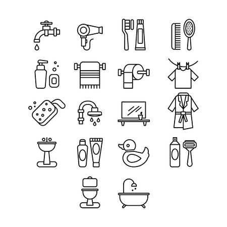 hygienic: Hygienic and Bathroom Icons Set. Linear Vector Illustrations Set