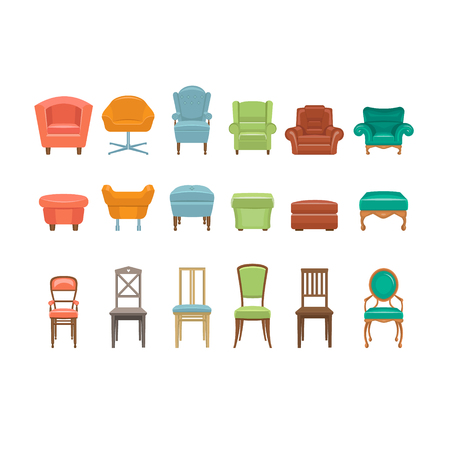 armchairs: Furniture for Sitting. Chairs Armchairs Stools Icons. Vector Illustration Set