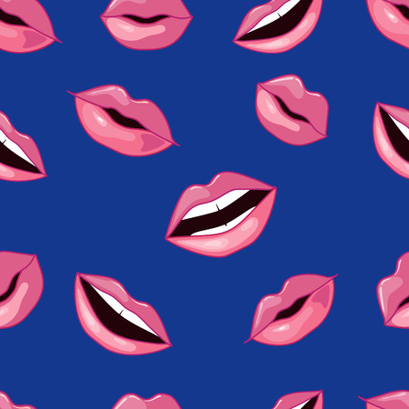 lips smile: Cute Pink Lips Pattern. Vector Illustration. Pink lips on blue background Illustration