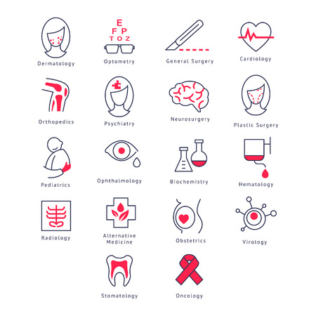 general surgery: Medicine Kinds. Vector Illustration Collection icons set Illustration