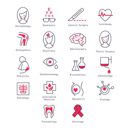 general surgery: Medicine Kinds. Vector Illustration Collection icons set Illustration