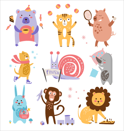 mammal baby: Colourful Childish Animals Vector Illustration Set. Animals are busy with different things Illustration