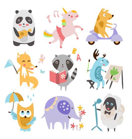 baby toys: Cute Childish Animals Vector Illustration Set . Animals are busy with different things Illustration