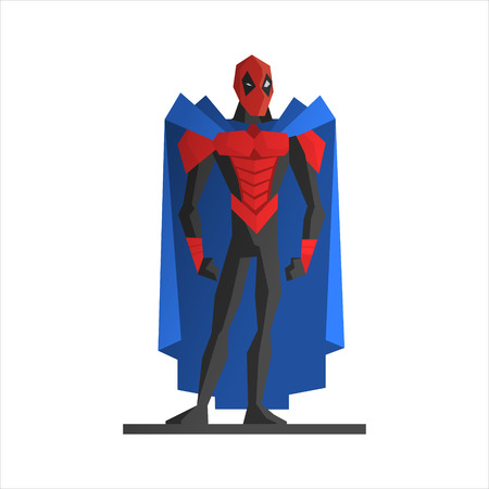 Male Superhero Vector Illustration. Strong hero in aggressive posture Illustration