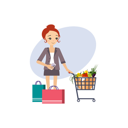 Shopping. Daily Routine Activities of Women. Colourful Vector Illustration