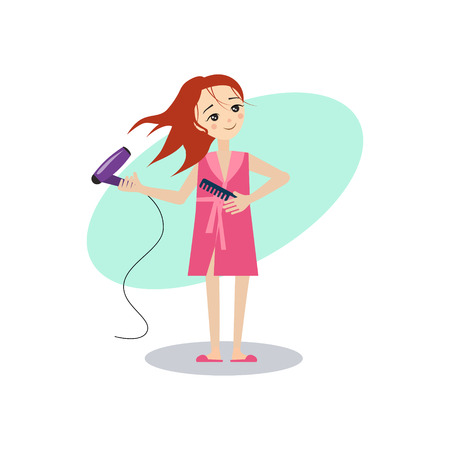 Drying Hair. Daily Routine Activities of Women. Colourful Vector Illustration  イラスト・ベクター素材