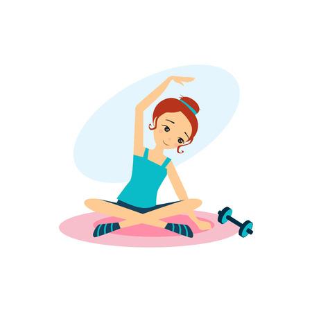 Con pesas deportivas. Actividades rutina diaria de las mujeres. Colorida ilustración vectorial