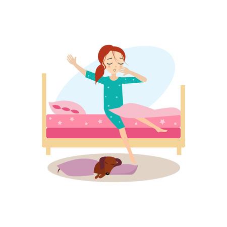 目を覚ます。女性の起居動作。カラフルなベクトルの図  イラスト・ベクター素材