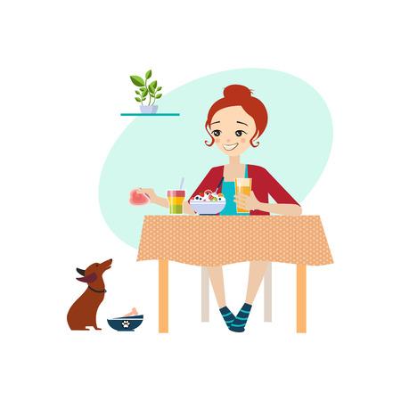 Comer en casa. Actividades rutina diaria de las mujeres. Colorida ilustración vectorial Ilustración de vector