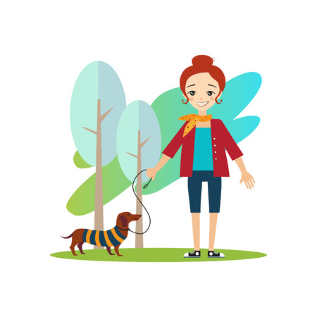 Caminando un perro. Actividades rutina diaria de las mujeres. Colorida ilustración vectorial