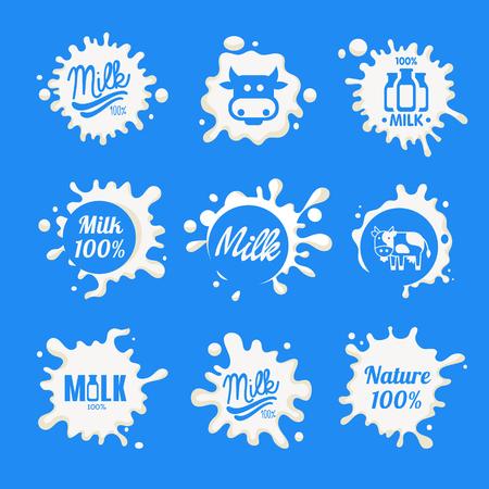 Milk Labels Designs with Lettering Vector Set