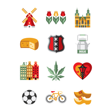 dutch girl: Netherlands Symbols and Landmarks Vector Illustration Collection