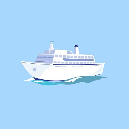 navy pier: White Passenger Ship on the Water. Flat Vector Illustration