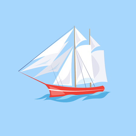 frigate: Frigate Ship on the Water. Flat Vector Illustration