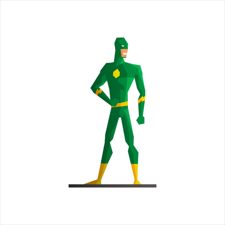 suite: Male Superhero Wearing Green Suite Vector Illustration